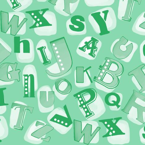 Alphabet in green fabric by lburleighdesigns on Spoonflower - custom fabric