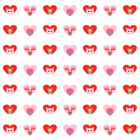 beaver, hedgehog, owl, moose hearts in the forest in red pink fabric by pimento on Spoonflower - custom fabric