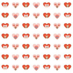 beaver, hedgehog, owl, moose hearts in the forest in red pink