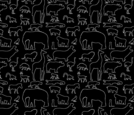 African Animals Outline on Black fabric by thinlinetextiles on Spoonflower - custom fabric
