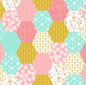hexagon quilt // cheater quilt wholecloth cute retro flowers florals cheater quilt coral pink gold mint arrows sweet girls quilt
