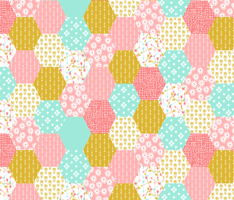 hexagon quilt // cheater quilt wholecloth cute retro flowers florals cheater quilt coral pink gold mint arrows sweet girls quilt fabric by andrea_lauren on Spoonflower - custom fabric