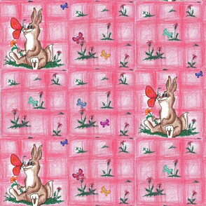 Pink Bunny and Butterfly