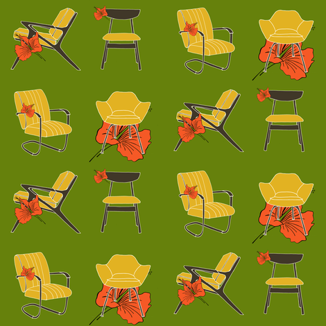 Midcentury Chairs and Hibiscus Flower fabric by carrie_narducci on Spoonflower - custom fabric