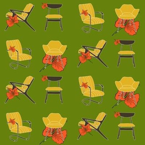 Midcentury Chairs and Hibiscus Flower