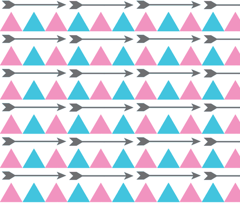 Blue and Pink Triangles and Arrows fabric by sunshineandspoons on Spoonflower - custom fabric