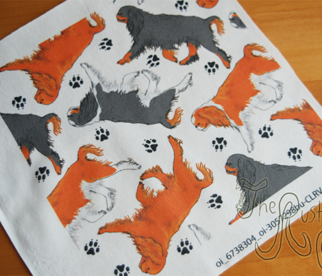 Trotting English toy spaniels and paw prints - white