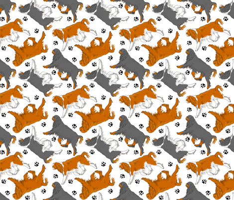 Trotting English toy spaniels and paw prints - white fabric by rusticcorgi on Spoonflower - custom fabric