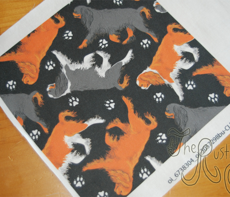 Trotting English toy spaniels and paw prints - black