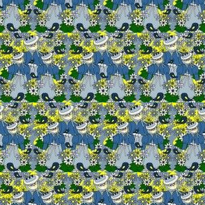 Celia Doll Victorian  Flowers and Birds Fabric #1