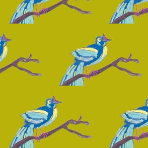 Songbird in blue and olive