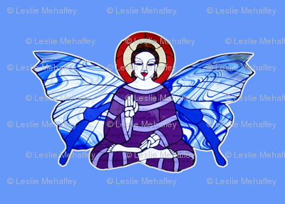 Purple and Lavender Buddha with Blue and white Butterfly wings on light blue background