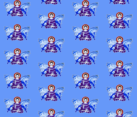 Purple and Lavender Buddha with Blue and white Butterfly wings on light blue background fabric by lazella_rosetta on Spoonflower - custom fabric