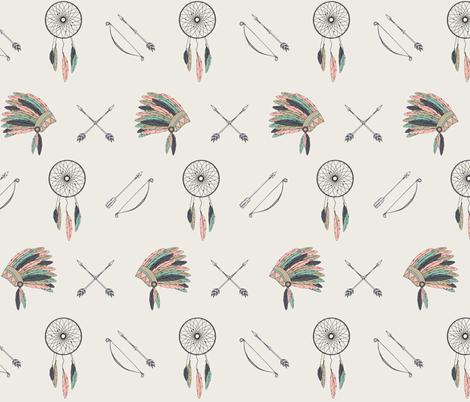 Dreamcatcher headdress // charlotte fabric by littlearrowdesign on Spoonflower - custom fabric