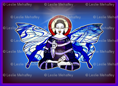 Stain Glass Purple Buddhafly with Blue and clear white Butterfly wings