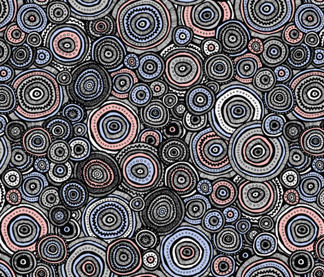 Tribal Circles (Rose Quartz and Serenity) fabric by robyriker on Spoonflower - custom fabric