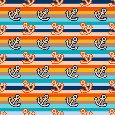 Pop Sea Wold Coordinate Anchor (Color 2) fabric by vannina on Spoonflower - custom fabric