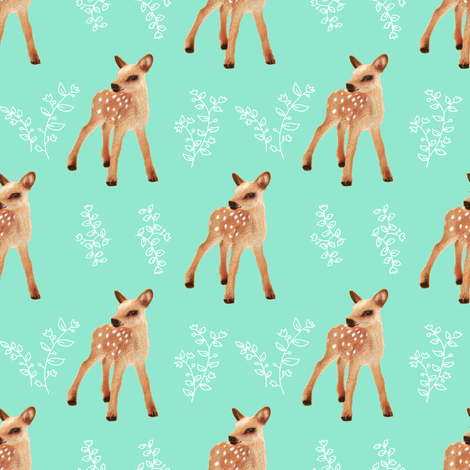 FAWN Floral II, Aqua fabric by thistleandfox on Spoonflower - custom fabric