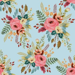 Watercolor Floral Wild Roses and Rosehips on Pale Blue