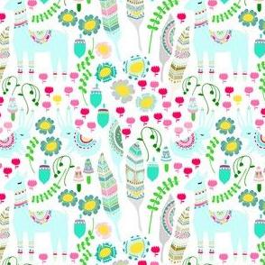 Floral Llama - White