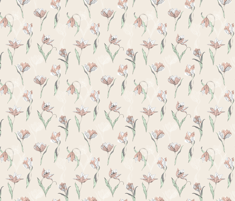 tulips_on_beige fabric by youdesignme on Spoonflower - custom fabric