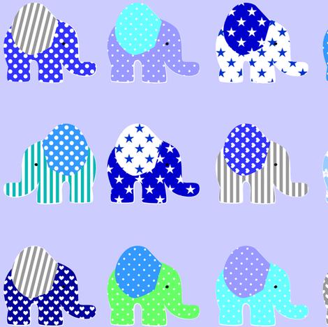 blue elephant parade fabric by artminx on Spoonflower - custom fabric