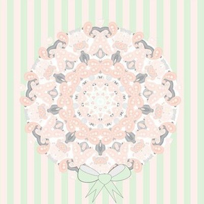 Pretty Pastel Paisley Bouquets On Stripes