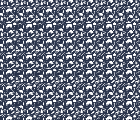 The Woodcutter // Navy // Small fabric by ivieclothco on Spoonflower - custom fabric