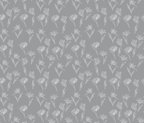 white_tulips_on_grey fabric by youdesignme on Spoonflower - custom fabric