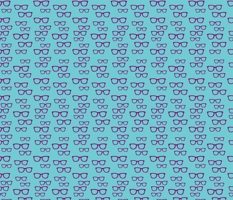Purple Teal Glasses fabric by anchored_by_love on Spoonflower - custom fabric