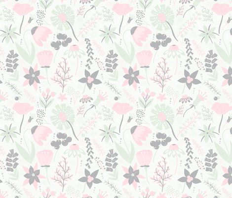 Grey, Cream, Cucumber & Peach Wildflowers fabric by noondaydesign on Spoonflower - custom fabric