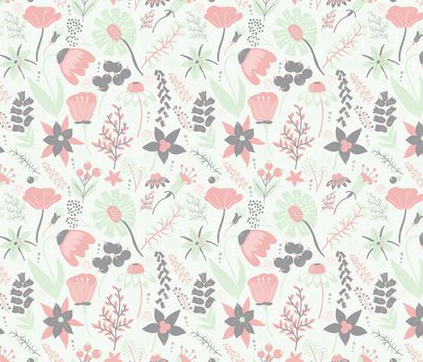 Grey, Cream, Cucumber & Peach Wildflowers fabric by noondaydesign on Spoonflower - custom fabric