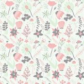 Grey, Cream, Cucumber & Peach Wildflowers