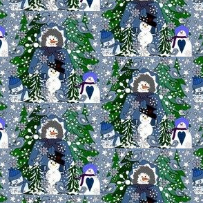 Sweetheart Faith Snow-Lady Gray Is Beautiful Winter Trees, Birds, Snowmen, Trees, Birds and Snowflakes Fabric #1