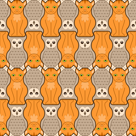 owl + pussy cat : marmalade + coffee fabric by sef on Spoonflower - custom fabric