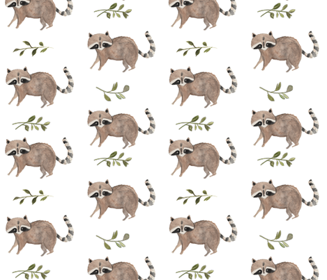 Watercolor Raccoon fabric by pacemadedesigns on Spoonflower - custom fabric