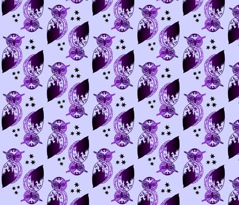 Owl- Purple fabric by moonstoneelm on Spoonflower - custom fabric