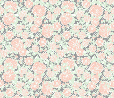Scattered vintage flowers on grey with white polka dots fabric by tabpin on Spoonflower - custom fabric