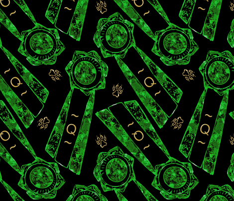 Green Q rosettes fabric by rusticcorgi on Spoonflower - custom fabric