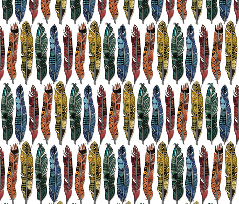 boho rainbow feathers small fabric by scrummy on Spoonflower - custom fabric