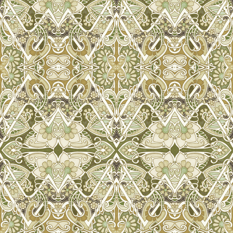 Hearts and Flowers Amid the Vines fabric by edsel2084 on Spoonflower - custom fabric