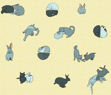 cat and rabbit friends remote fabric by mophead on Spoonflower - custom fabric