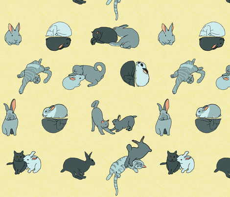 cat and rabbit friends tight fabric by mophead on Spoonflower - custom fabric
