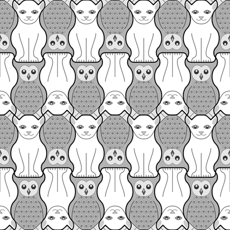 owl + pussy cat : grey fabric by sef on Spoonflower - custom fabric
