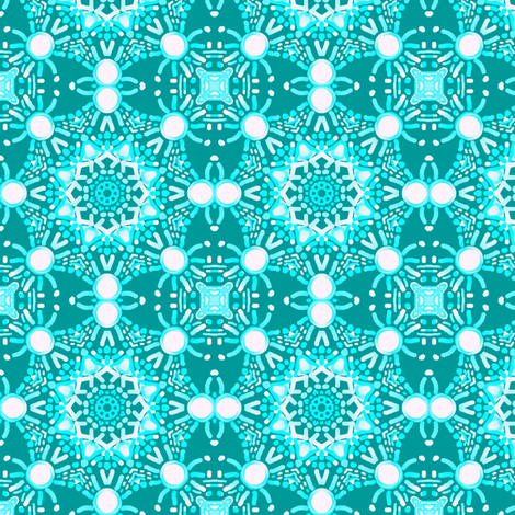Blue-Green with Snowballs fabric by tallulahdahling on Spoonflower - custom fabric