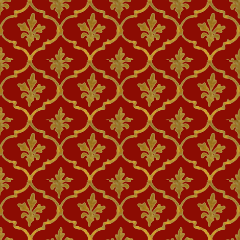 Golden Tile Red fabric by amyvail on Spoonflower - custom fabric