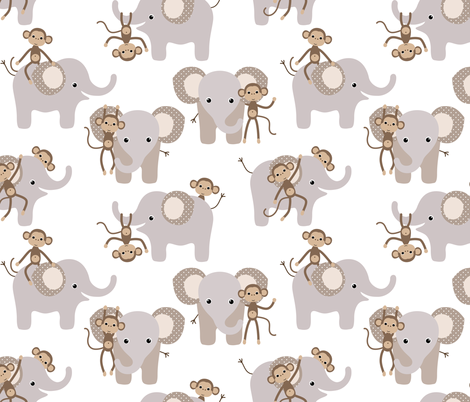 monkey and elephant fabric by heleenvanbuul on Spoonflower - custom fabric