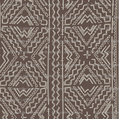 African Mud Cloth Mudcloth Beige On Brown Fabric Jenlats