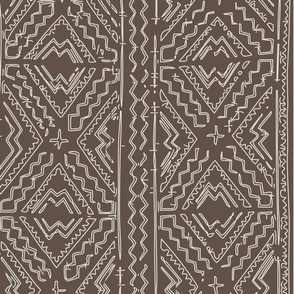 African Mud cloth mudcloth beige on brown