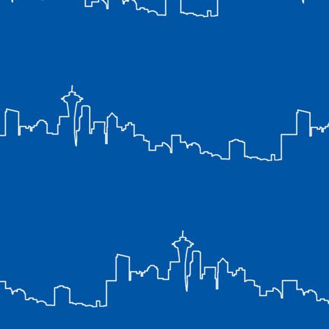 Seattle Skyline // Royal Blue  fabric by thinlinetextiles on Spoonflower - custom fabric